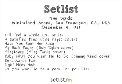 The Byrds Setlist Winterland Arena, San Francisco, CA, USA 1967