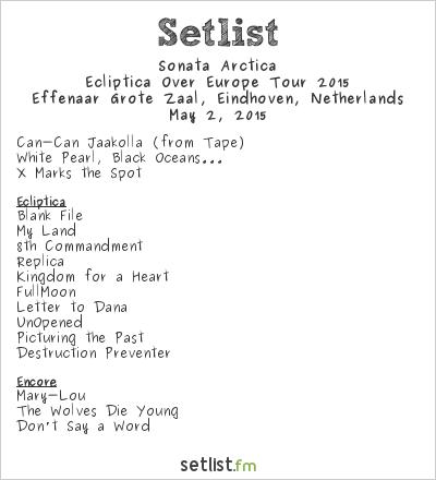 Sonata Arctica Setlist Effenaar, Eindhoven, Netherlands, Ecliptica Over Europe Tour 2015