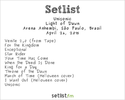 Unisonic Setlist Monsters of Rock Brazil 2015 2015, Light of Dawn