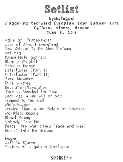 Eyehategod Setlist Kyttaro, Athens, Greece, Staggering Backward European Tour Summer 2015