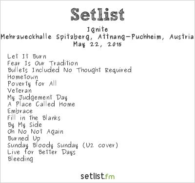 Ignite Setlist Pfingstspektakel, Attnang-Puchheim, Austria 2015