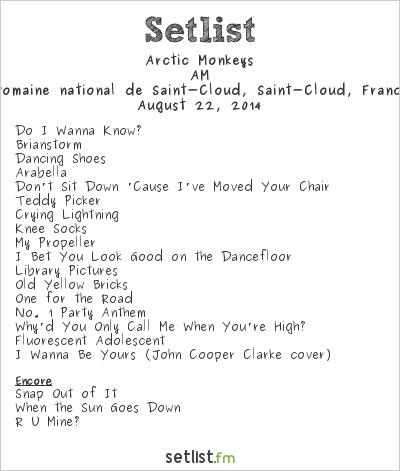 Arctic Monkeys Setlist Rock en Seine 2014 2014, AM Tour