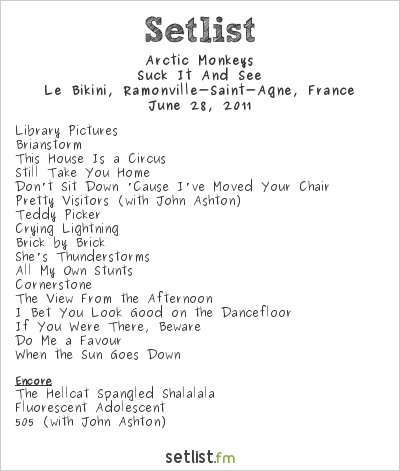 Arctic Monkeys Setlist Le Bikini, Ramonville-Saint-Agne, France 2011, Suck It And See Tour