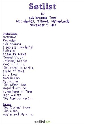 IQ Setlist Noorderligt, Tilburg, Netherlands 1997, Subterranea Tour