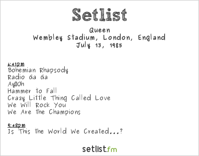 Queen Setlist Live Aid London 1985