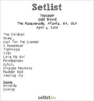 Yeasayer Setlist Masquerade, Atlanta, GA, USA 2010