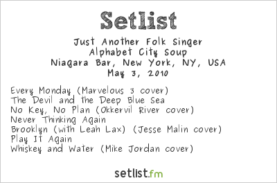 Mystie Chamberlin Setlist Niagara Bar, New York, NY, USA 2010, Manic Mondays Mayhem
