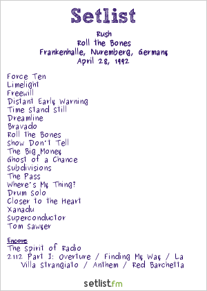 Rush Setlist Frankenhalle, Nuremberg, Germany 1992, Roll the Bones
