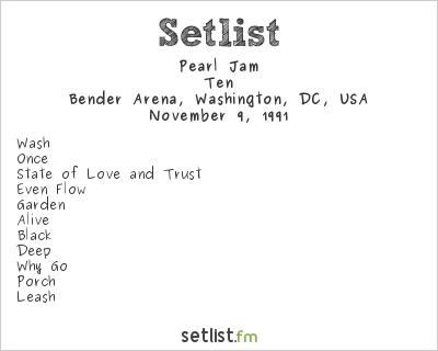 Pearl Jam Setlist Bender Arena, Washington, DC, USA 1991, Ten