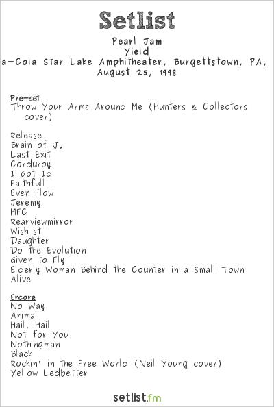 Pearl Jam Setlist Coca-Cola Star Lake Amphitheater, Burgettstown, PA, USA 1998, Yield