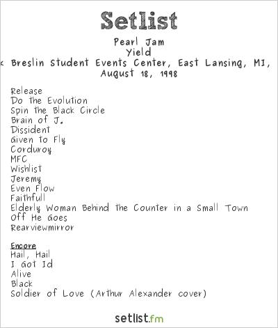 Pearl Jam Setlist Jack Breslin Student Events Center, East Lansing, MI, USA 1998, Yield