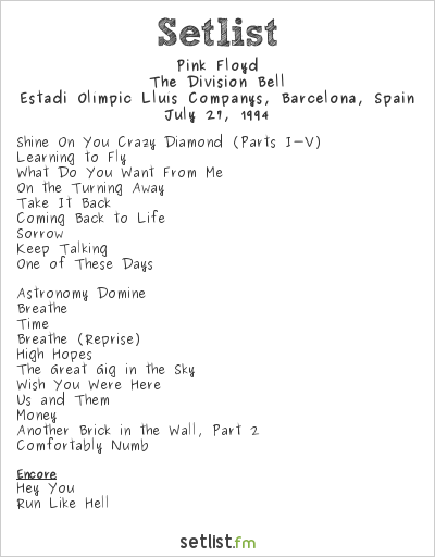 Pink Floyd Setlist Estadi Olímpic Lluís Companys, Barcelona, Spain 1994, The Division Bell
