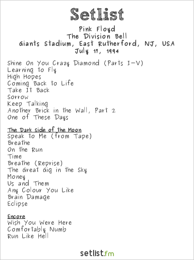 Pink Floyd Setlist Giants Stadium, East Rutherford, NJ, USA 1994, The Division Bell