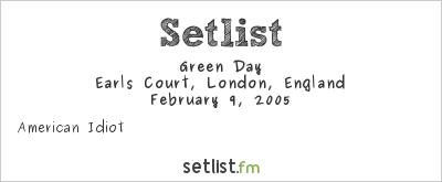 Green Day at BRIT Awards 2005 Setlist