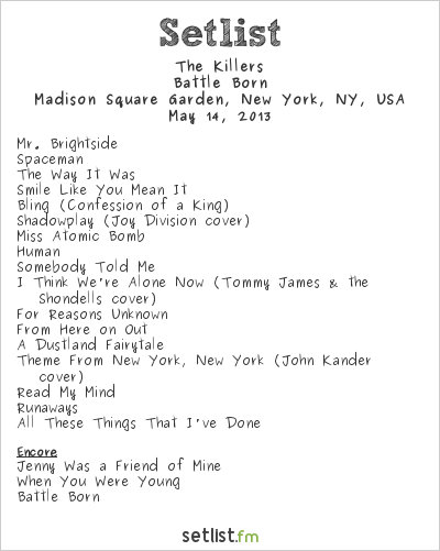 The killers setlist madison square garden new york ny usa 2013 battle born widgets The killers madison square garden