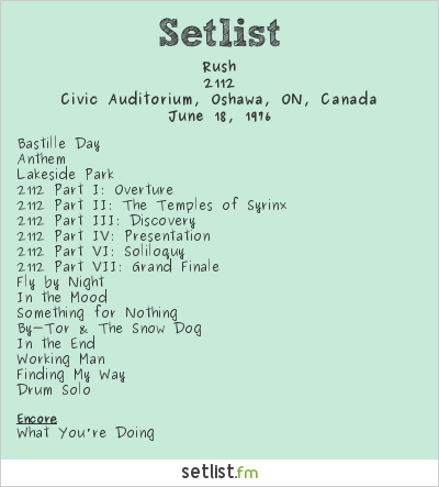 Rush Setlist Civic Auditorium, Oshawa, ON, Canada 1976, 2112 Tour