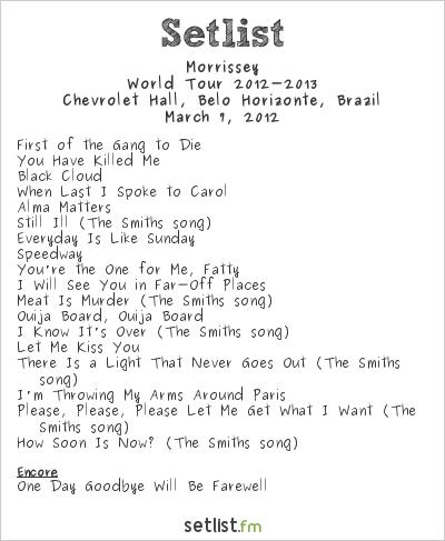 Morrissey Setlist Chevrolet Hall, Belo Horizonte, Brazil 2012, 2012 South American Tour