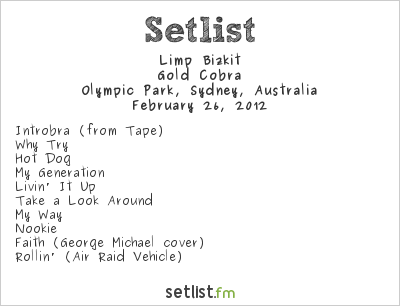 Limp Bizkit Setlist Soundwave Sydney 2012 2012