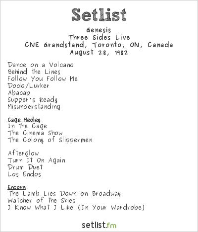 Genesis Setlist CNE Grandstand, Toronto, ON, Canada 1982, Three Sides Live Tour