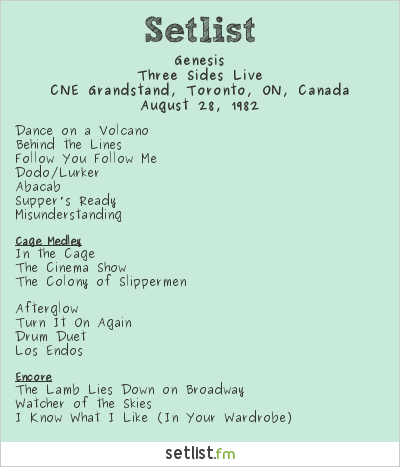 Genesis Setlist CNE Grandstand, Toronto, ON, Canada 1982, Three Sides Live Tour