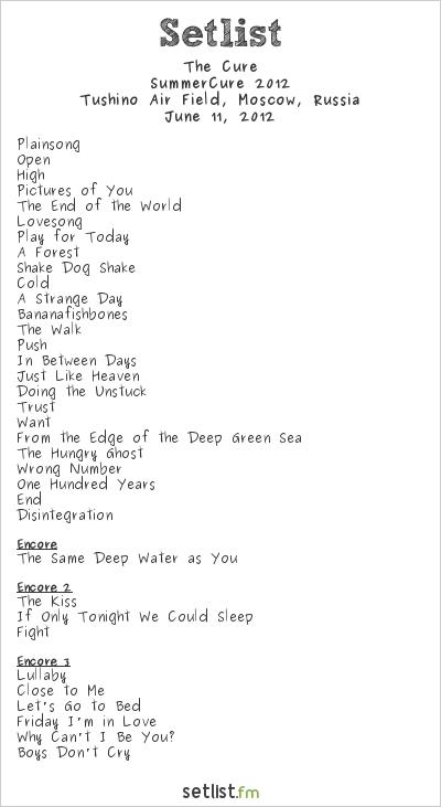 The Cure Setlist Maxidrom 2012, SummerCure 2012