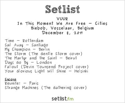 VUUR Setlist Biebob, Vosselaar, Belgium, European Tour 2017