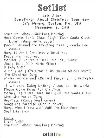 Kris Allen Setlist City Winery, Boston, MA, USA, Something' About Christmas Tour 2017