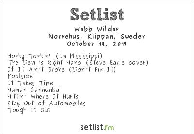 Webb Wilder Setlist Norrehus, Klippan, Sweden 2017