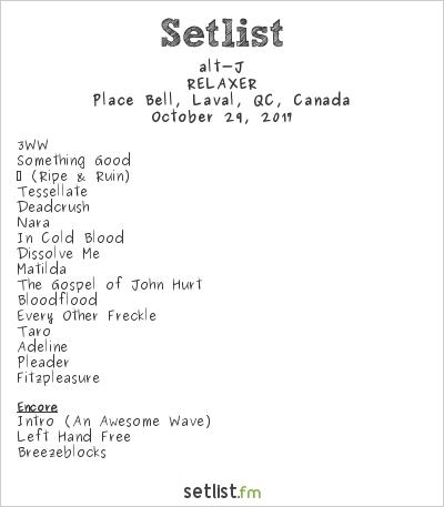 alt-J Setlist Place Bell, Laval, QC, Canada 2017, RELAXER Tour