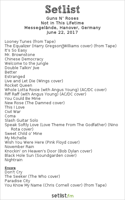 Guns N' Roses Setlist Messegelände, Hanover, Germany 2017, Not in this Lifetime