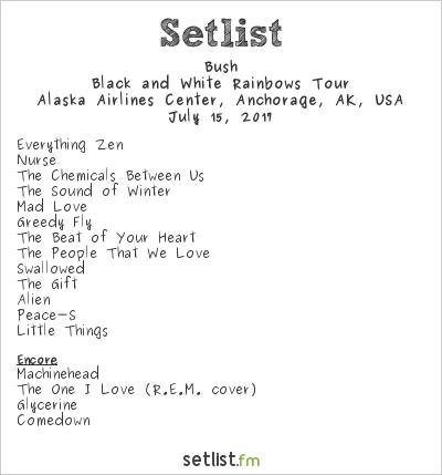 Bush Setlist Alaska Airlines Center, Anchorage, AK, USA 2017, Black and White Rainbows Tour