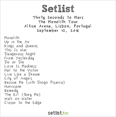 Thirty Seconds to Mars Setlist Altice Arena, Lisbon, Portugal 2018, The Monolith Tour