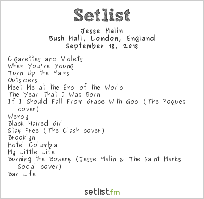Jesse Malin Setlist Bush Hall, London, England 2018