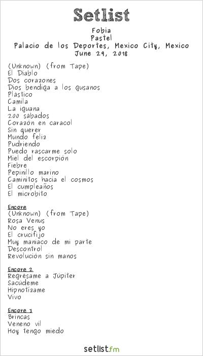 Fobia Setlist Palacio de los Deportes, Mexico City, Mexico 2018, Pastel