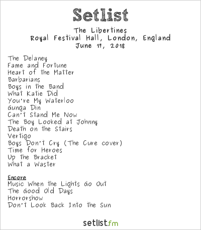The Libertines Setlist Meltdown Festival 2018 2018