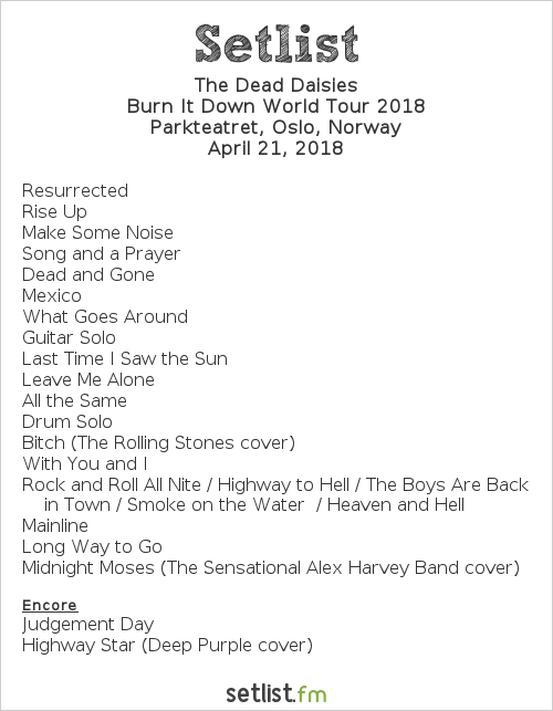 The Dead Daisies Setlist Parkteateret Scene, Oslo, Norway, Burn It Down World Tour 2018