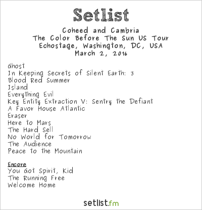 Coheed and Cambria Setlist Echostage, Washington, DC, USA 2016, The Color Before the Sun US Tour