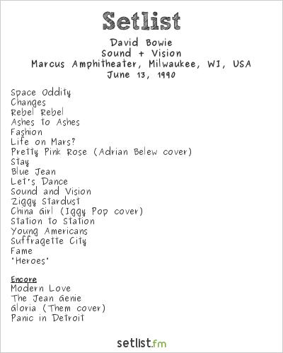 David Bowie Setlist Marcus Amphitheater, Milwaukee, WI, USA 1990, Sound + Vision Tour