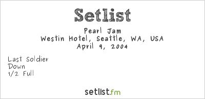 Pearl Jam Setlist Westin Hotel, Seattle, WA, USA 2004