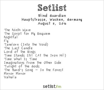 Blind Guardian Setlist Wacken Open Air 2016 2016