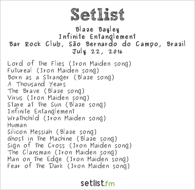 Blaze Bayley Setlist Bar Rock Club, São Bernardo do Campo, Brazil 2016, Infinite Entanglement