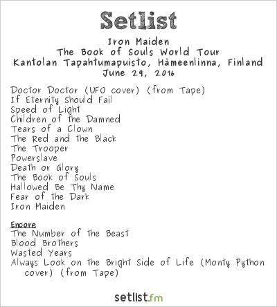 Iron Maiden Setlist Kantolan Tapahtumapuisto, Hämeenlinna, Finland 2016, The Book of Souls World Tour