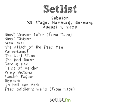 Sabaton Setlist Wacken World Wide 2020 2020