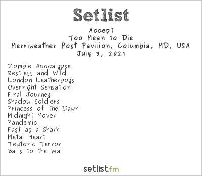 Accept at M3 Rock Festival 2021 Setlist