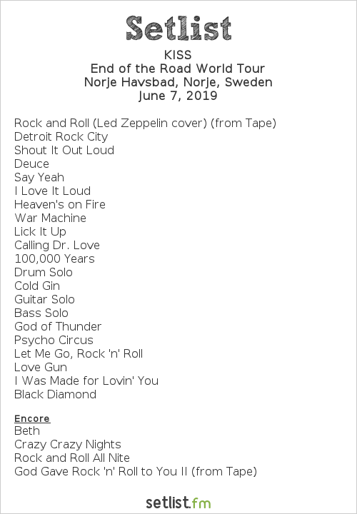 KISS Setlist Sweden Rock Festival 2019 2019, End of the Road World Tour