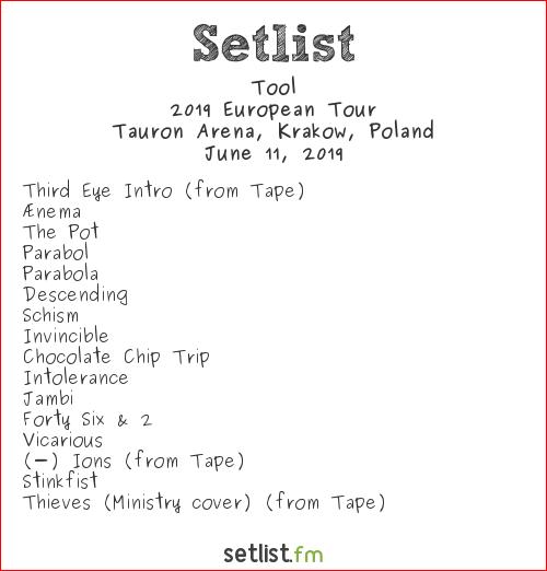 Tool Setlist Impact Festival 2019 2019, 2019 European Tour