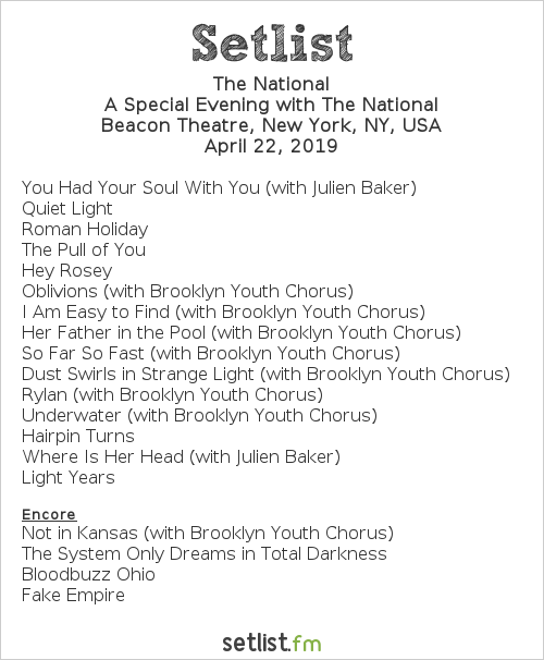 The National Setlist Beacon Theatre, New York, NY, USA 2019, A Special Evening with The National