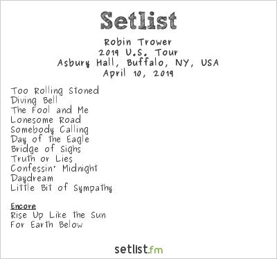 Robin Trower Setlist Asbury Hall, Buffalo, NY, USA 2019, 2019 U.S. Tour