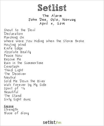 The Alarm Setlist John Dee, Oslo, Norway 2019