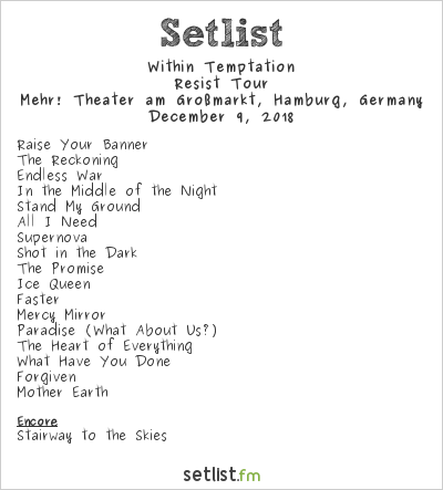 Within Temptation Setlist Mehr! Theater am Großmarkt, Hamburg, Germany 2018, Resist Tour